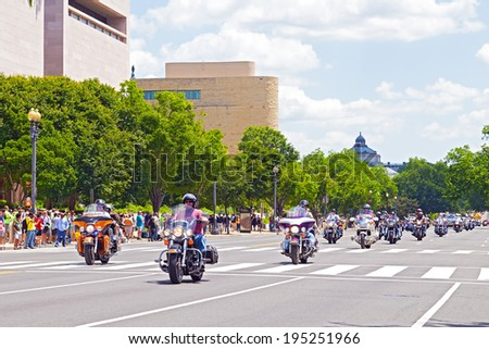 WASHINGTON, DC, USA - MAY 25, 2014: Motorbikes on Independence Avenue as part of the annual Rolling Thunder motorcycle ride for American POWs and MIA soldiers on May 25, 2014 in Washington, DC, USA