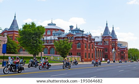 WASHINGTON, DC, USA - MAY 25: Motorcycles travel on Independence Avenue as part of the annual Rolling Thunder motorcycle ride for American POWs and MIA soldiers on May 25, 2014 in Washington, DC, USA