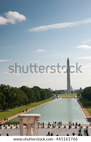 WASHINGTON DC. USA - NOVEMBER 1, Lincoln Memorial Reflecting Pool