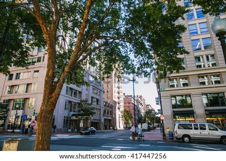 Washington DC, USA - October 19, 2015: Downtown Washington DC, on the autumn street. - stock photo
