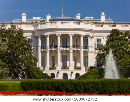 WASHINGTON, DC, USA - OCTOBER 7, 2008: The White House, south portico, balcony and columns.