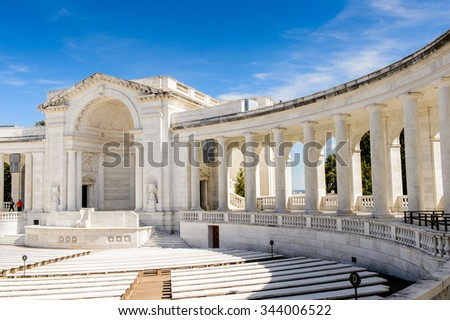 WASHINGTON DC, USA - SEP 24, 2015: Memorial Amphitheater at the Arlington national cemetery. It's a United States military cemetery