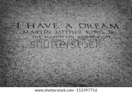 "WASHINGTON DC, USA - SEPTEMBER 30, 2009: An inscription on the floor of the Lincoln Memorial marks the spot from which, in August 1963, Martin Luther King Jr. delivered his ""I Have a Dream"" speech. - stock photo"