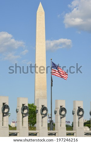 Washington DC - World War II Memorial and the Monument - stock photo