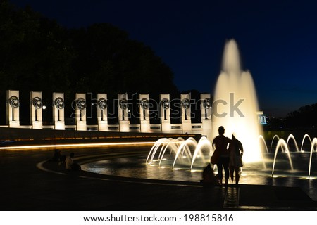Washington DC - World War II Memorial at night  - stock photo