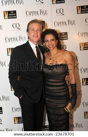 WASHINGTON - JANUARY 20: Actors Gloria Reuben and Matthew Modine arrive for the Creative Coalition dinner on behalf of the presidential inauguration on January 20, 2009 in Washington. - stock photo