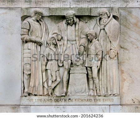 WASHINGTON - JUNE 2014:  The Folger Shakespeare  has one of the finest collections of Shakespeare material, and the building's exterior displays sculptures depicting scenes from the most famous plays. - stock photo