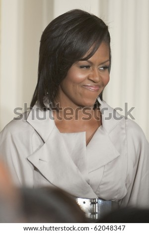 WASHINGTON - JUNE 29: US First Lady Michelle Obama at the east room of the White House June 29, 2009 in Washington, DCat the east room of the White House - stock photo