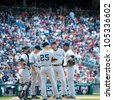 WASHINGTON- JUNE 16:  Yankees players confer on the mound at their game against the Washington Nationals on June 16, 2012 in Washington, D.C. - stock photo