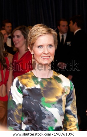 WASHINGTON MAY 3 -�� Actress Cynthia Nixon arrives at the White House Correspondents� Association Dinner May 3, 2014 in Washington, DC - stock photo