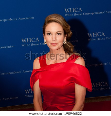 WASHINGTON MAY 3 -�� Actress Diane Lane arrives at the White House Correspondents� Association Dinner May 3, 2014 in Washington, DC - stock photo