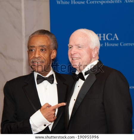 WASHINGTON MAY 3 -�� Al Sharpton and John McCain on the red carpet at the White House Correspondents� Association Dinner May 3, 2014 in Washington, DC - stock photo