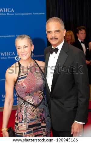 WASHINGTON MAY 3 -�� Attorney General Eric Holder and wife Sharon Malone arrive at the White House Correspondents� Association Dinner May 3, 2014 in Washington, DC - stock photo