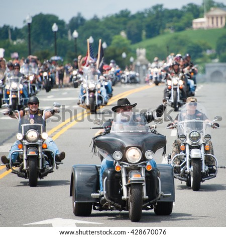 WASHINGTON  ?? MAY 29: Congressional Medal of Honor recipient Gary Wetzel rides in Rolling Thunder, a motorcycle rally to bring attention to POWs and MIAs, on May 29, 2016 in Washington, DC - stock photo