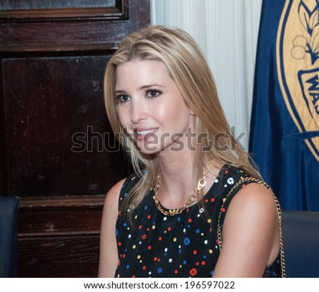 WASHINGTON - MAY 27, 2014 - Ivanka Trump, daughter of real estate mogul Donald Trump speaks at a National Press Club luncheon. - stock photo