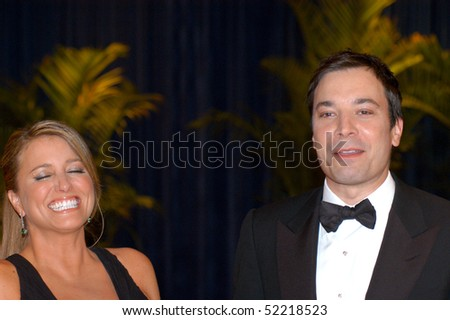 WASHINGTON MAY 1 - Jimmy Fallon and wife Eve Mavrakis at the White House Correspondents Association Dinner May 1, 2010 in Washington, D.C. - stock photo