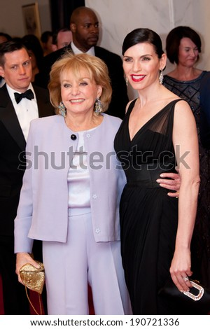 WASHINGTON MAY 3 � Julianna Margulies with Barbara Walters at the White House Correspondents� Association Dinner May 3, 2014 in Washington, DC - stock photo