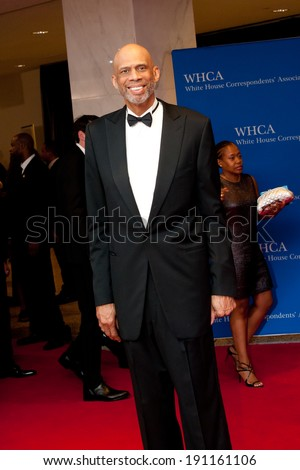 WASHINGTON MAY 3 -�� Kareem Abdul-Jabbar arrives at the White House Correspondents� Association Dinner May 3, 2014 in Washington, DC - stock photo