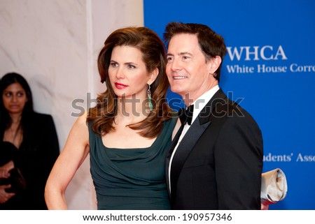 WASHINGTON MAY 3 - Kyle McLachlan and wife Desiree Gruber arrive at the White House Correspondents� Association Dinner May 3, 2014 in Washington, DC - stock photo