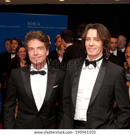WASHINGTON MAY 3 -�� Singers Richard Marx and Rick Springfield arrive at the White House Correspondents� Association Dinner May 3, 2014 in Washington, DC - stock photo