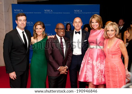 WASHINGTON MAY 3 -�� The Today Show cast pose at the White House Correspondents� Association Dinner May 3, 2014 in Washington, DC - stock photo