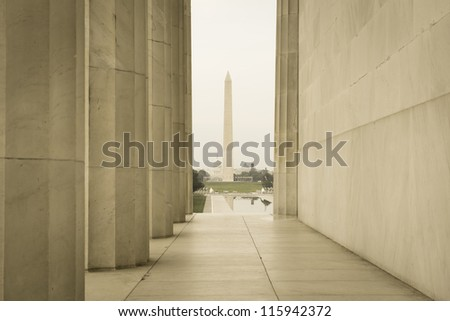 Washington Monument and Capitol Hill - stock photo
