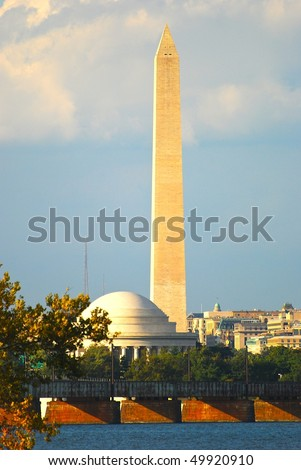 Washington Monument and Jefferson memorial in Washington DC - stock photo