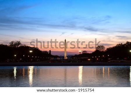 Washington Monument at Dusk - stock photo