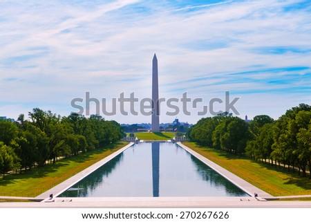 Washington Monument morning reflecting pool in US USA - stock photo