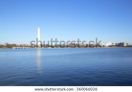 Washington Monument reflection from Potomac river. Famous landmark - stock photo