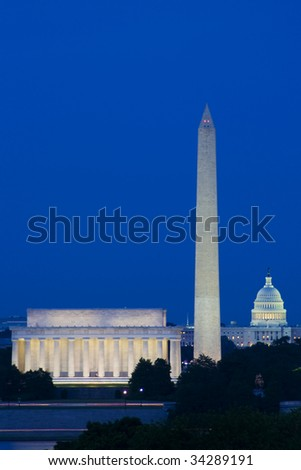 Washington Monuments at Dusk - stock photo