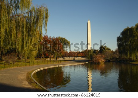 Washington National Memorial and its reflection in the lake. - stock photo