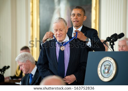 Washington � November 20: Ben Bradlee receives the Presidential Medal of Freedom from President Obama at a ceremony at The White House on November 20, 2013 in Washington, DC.  - stock photo
