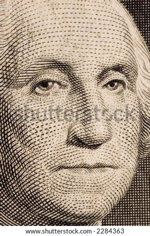 Washington on a $1 bill extreme close up - stock photo