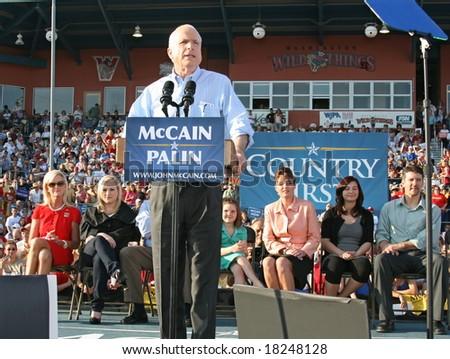 WASHINGTON, PA -- AUGUST 30, 2008: Governor Sarah Palin, Senator John McCain, Willow Palin, Cindy McCain, Piper Palin, Todd Palin and Meghan McCain in Washington, Pennsylvania on August 30, 2008 - stock photo