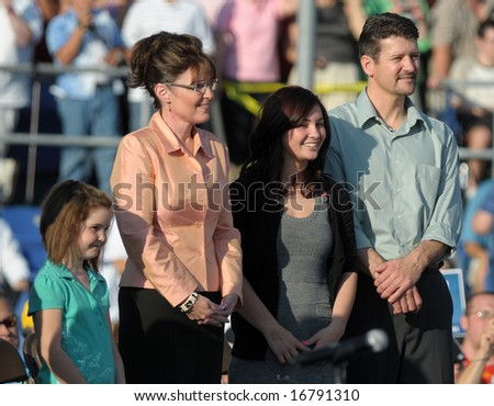 WASHINGTON, PA - AUGUST 30: Vice Presidential candidate Sarah Palin and her family campaign in Washington, PA, August 30, 2008. - stock photo