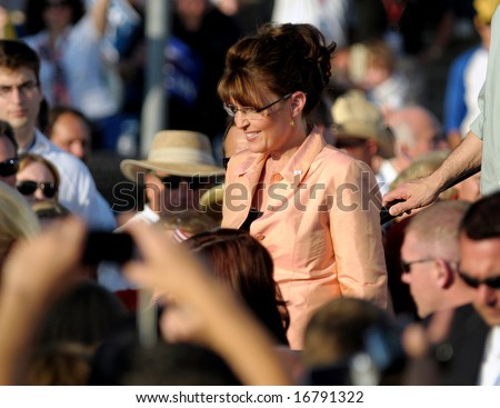 WASHINGTON, PA - AUGUST 30: Vice Presidential candidate Sarah Palin during a campaign visit to Washington, PA, August 30, 2008. - stock photo