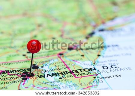 Washington pinned on a map of USA  - stock photo