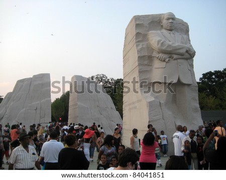 WASHINGTON - SEP. 3: The Martin Luther King, Jr. National Memorial stands open to the public in Washington, DC, on Sep. 3, 2011. The scheduled dedication (Aug. 28) was canceled due to Hurricane Irene. - stock photo