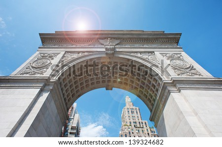 Washington Square Arch (built in 1889) in New York City, NY. - stock photo