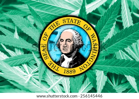 Washington State Flag on cannabis background. Drug policy. Legalization of marijuana - stock photo