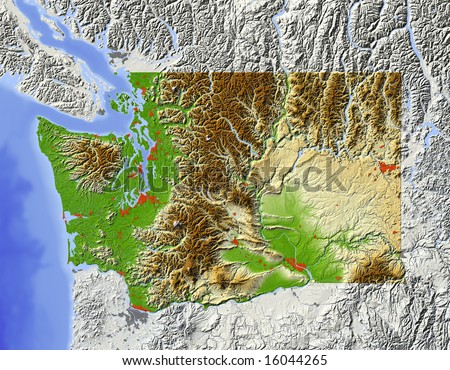 Washington, state. Shaded relief map, with major urban areas and rivers, surrounding territory grayed out. Colored according to elevation. Clip path for the state area included. Data source: NASA - stock photo