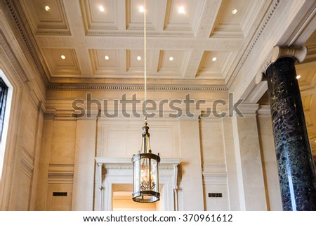 WASHINGTON, USA - SEP 24, 2015: Interior of the National Gallery of Art, a national art museum in Washington, D.C., National Mall, between 3rd and 9th Streets, at Constitution Avenue NW.