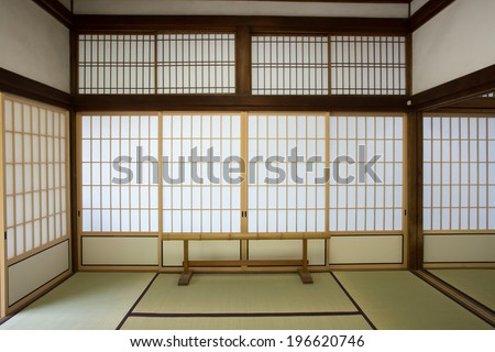 washitsu room, Japanese style study room with wall painting, Tenryu-ji temple, Kyoto.Japan - stock photo