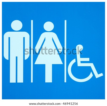 Washroom sign for men, women and persons with disabilities - stock photo
