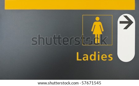 Washroom sign with female silhouette - stock photo