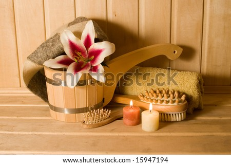 washtub with candles and flower - stock photo