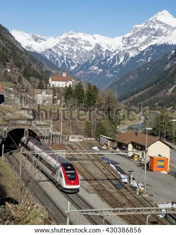 WASSEN,SWITZERLAND - FEBRUARY 21, 2016: Spectacular railway in Swiss Alps. Station in Wassen. - stock photo