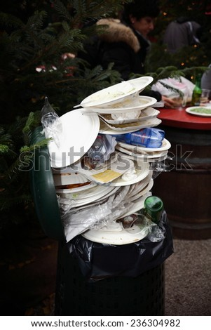 waste paper and plastic collection - stock photo