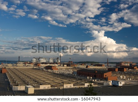 waste processing facility exterior - stock photo